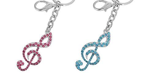 Llavero Musical Clave sol con brillantes decorativos Rosa o ...