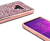 Samsung Galaxy Note 9 Case Sparkly Glitter,Lozeguyc 2 in 1 Luxury Plating Bling Rhinestone Leather Shockproof Cover Hard PC Back + Soft TPU Inner Hybrid Case for Girls Women-Pink
