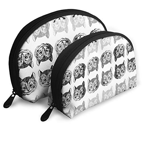Trousers2Q Portable Shell Makeup Storage Bag, Cosmetic Bags with Disappearing Cheshire Cat On White Pattern for Women and Girls