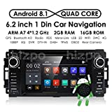 hizpo Android 8.1 OS 6.2Inch 1 Din Car Navigation DVD Player Radio Stereo Fit for Jeep Wrangler Chevrolet Dodge Chrysler with Mirrorlink Bluetooth WiFi 4G RDS OBD2 DVR DAB+ TPMS