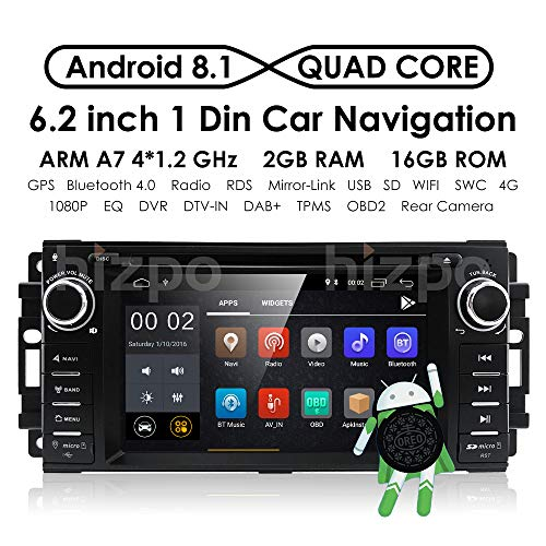 hizpo Android 8.1 OS 6.2Inch 1 Din Car Navigation DVD Player Radio Stereo Fit for Jeep Wrangler Chevrolet Dodge Chrysler with Mirrorlink Bluetooth WiFi 4G RDS OBD2 DVR DAB+ TPMS (Dodge Radio Jeep Chrysler Car)