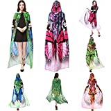 VESNIBA Halloween/Party Prop Novelty Print Chiffon Butterfly Wing Cape Scarf Peacock Poncho Shawl Wrap