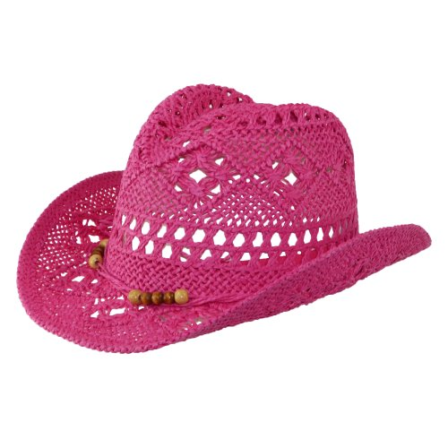 CTM Girls' Straw Beaded Trim Cowgirl Western Hat, Fuchsia