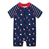 HUANQIUE Baby Boys One-Piece Swimsuit Short Sleeve Sun Protection Boat 6-12 Months