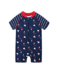 HUANQIUE Kids Swimsuit Boys UPF 50+ Sun Protection One Piece Navy 1-2 Years