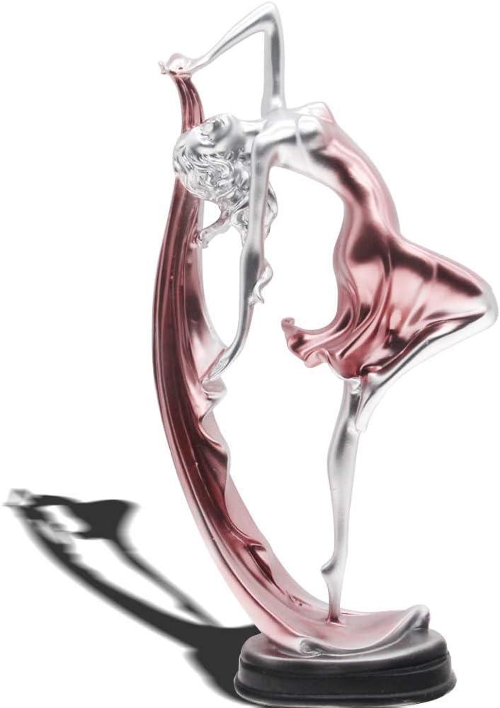 H&W 13''H Graceful Dance Movements Figurine, Resin Home Decoration, Beautiful Dancer Statue, Art Sculpture Figure, Pink, Desk Ornament, Statuette for Your Desk/Bookshelf/Dinning Table(HH8-D3)