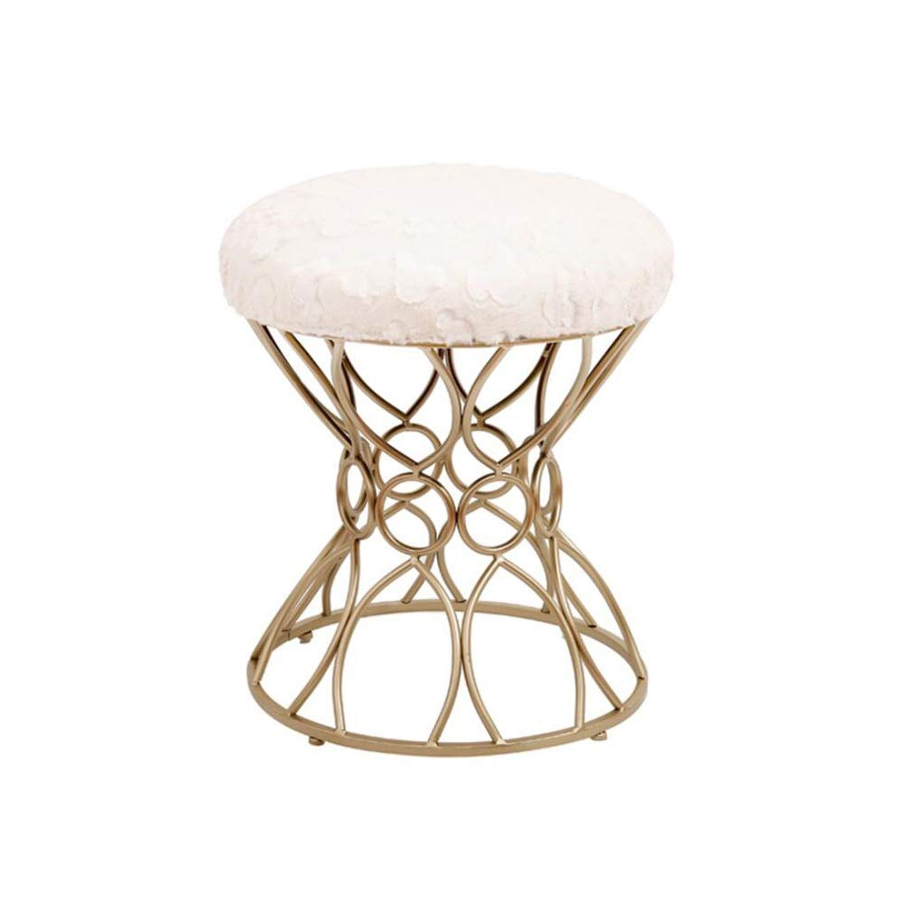Off white2  LJHA dengzi Iron Art Stool, Dressing Stool, with Cloth Fabric Cotton Stool Change The shoes Bench, 3 colors Chaise Longue (color   Off white1 )