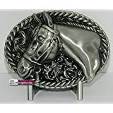 Brushed Silver Horse Head Fancy Western Scroll with Black Enamel Belt Buckle for Belts. Ships from Cornwall, Ontario, Canada. Distributed by Canada Buckles.
