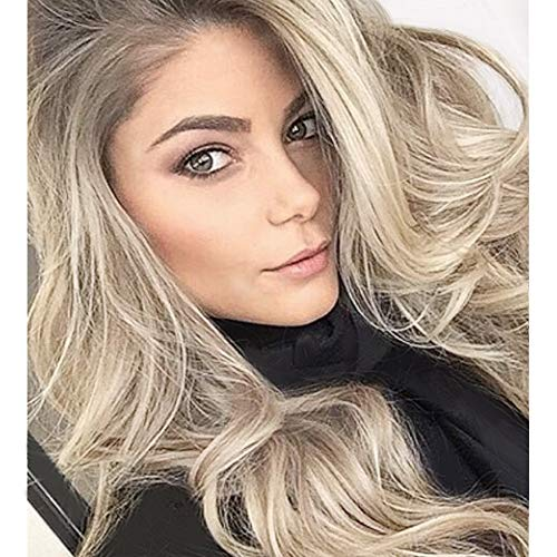 PINKSHOW Blonde Lace Front Wigs Long Natural Wavy Synthetic Wigs for Women Dark Root Ash Blonde Realistic Hairline Daily Party Heat Resistant Hair ()