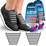 Diagonal One No Tie Shoelaces for Kids & Adults. The Elastic Silicone Shoe Laces to Replace Your Shoe Strings. 16 Slip On Tieless Flat Silicon Sneakers Laces (Gray)
