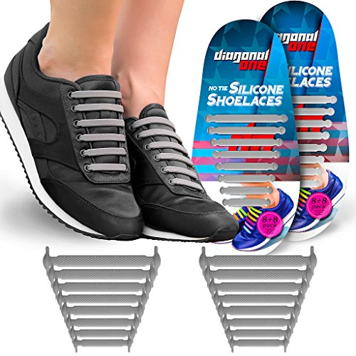 edc00bdfdbb4 Diagonal One No Tie Shoelaces for Kids   Adults. The Elastic Silicone Shoe  Laces to