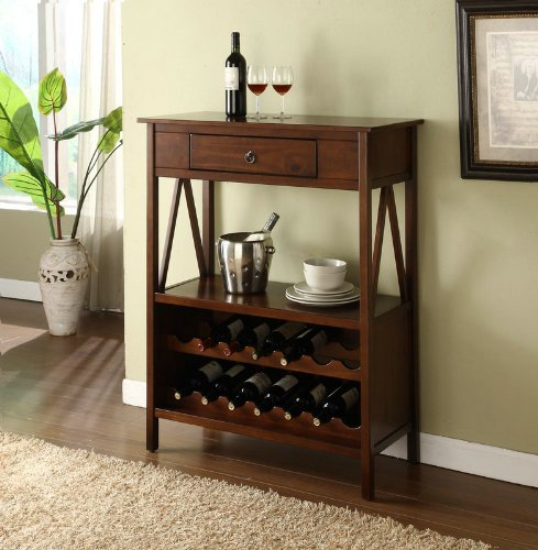 Titian Wood Wine Storage Cabinet- Antique Tobacco by FurnitureMaxx