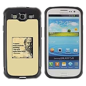 LASTONE PHONE CASE / Suave Silicona Caso Carcasa de Caucho Funda para Samsung Galaxy S3 I9300 / Socrates yellow marble quote deep smart