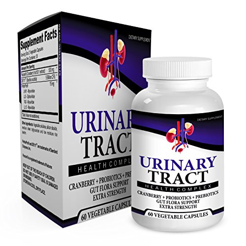Urinary Tract Health Complex with Probiotics, Prebiotics, and Cranberry - Urinary Tract Infection UTI Treatment Remedy - Urinary Tract Supplement 60 Vegetable Capsules