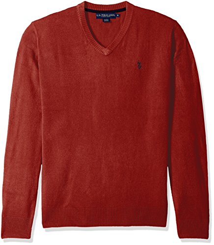 U.S. Polo Assn. Men's Solid V-Neck Sweater, Red, Small by U.S. Polo Assn.