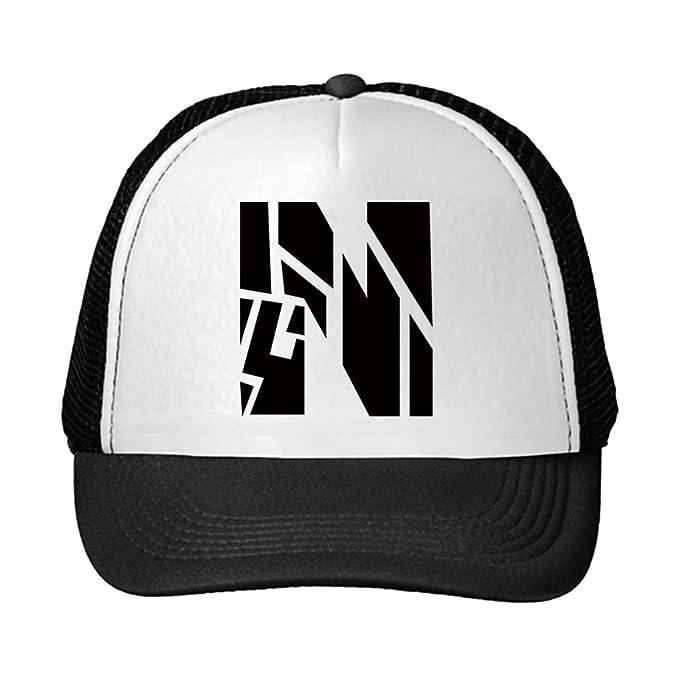 902e40a0c2b Trucker Hat N Robot Initial Monogram Letter N Polyester Baseball Mesh Cap  Snaps Black Black