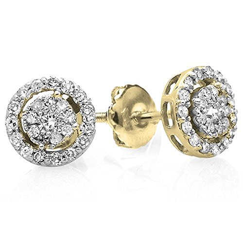 Yellow Gold Clip Earring (0.40 Carat (ctw) 14K Yellow Gold Round Cut Diamond Round Shape Cluster Earrings Look of 1 CT each)