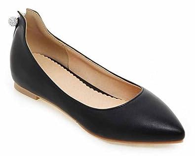 c649f8db3a6a49 SHOWHOW Women s Elegant Rhinestone Pointed Toe Low Top Slip On Low Heel  Dressy Flat Shoes Black