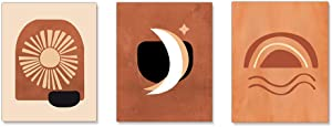 XGXL Sun and Moon Canvas Wall Art - 3 Pieces Unframed Burnt Orange Prints Abstract Rainbow Print Mid Century Modern Artwork for Home Decorations Bedroom Wall Decor
