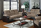 Product review for Container Direct Rocco Two-Toned Faux Leather and Corduroy 2-Piece Living Room Set with Sofa and Loveseat, Beige