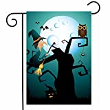 ShineSnow Funny Witch Owl Cat Halloween Garden Yard Flag 12''x 18'' Double Sided, Autumn Spider Moon Pumpkin Bat Polyester Welcome House Flag Banners for Patio Lawn Outdoor Home Decor