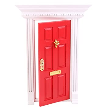 1:12 Miniature Wooden Exterior Door Rose Red Fairy Dollhouse Dolls Decor  With Hardware 6