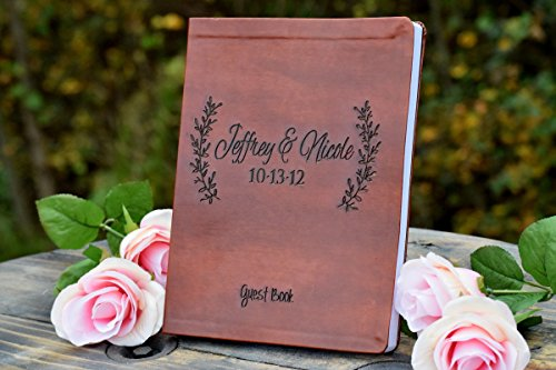 Leather Engraved Leaf Guest Book - Wedding Guest Book - Leather Journal - Personalized Journal - Personalized Gift - Guest Book Alternative - Personalized Leather (Personalized Wedding Guest Book)