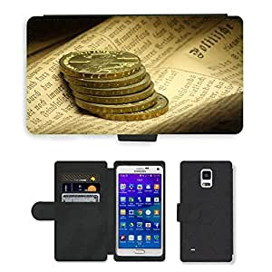 Hot Style Cell Phone Card Slot PU Leather Wallet Case // M00169235 Coins Newspaper Monument Writing // Samsung Galaxy Note 4 IV