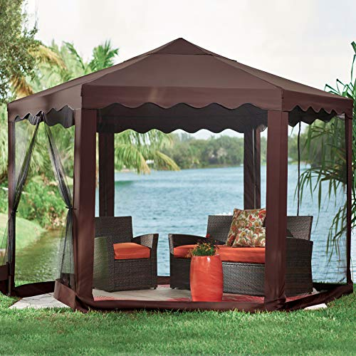 BrylaneHome New and Improved Waterproof 13'W Hexagon Gazebo (Chocolate) - Chocolate