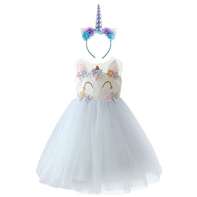 IBTOM CASTLE Niña Princesa Vestido Unicornio Disfraz de Flor Cosplay para Fiesta Carnaval Bautizo Cumpleaños Comunión