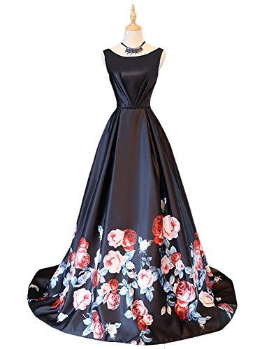 9112e2c337e8 Vanial Women's A Line Long Floral Print Prom Dresses Evening Gowns Black  Size 2