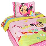 Disney Minnie Mouse Bow-tique Twin Comforter, Bedskirt, and Sham