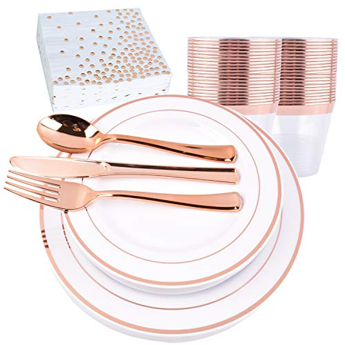 200PCS Rose gold Plastic Plates with Disposable Plastic, used for sale  Delivered anywhere in USA