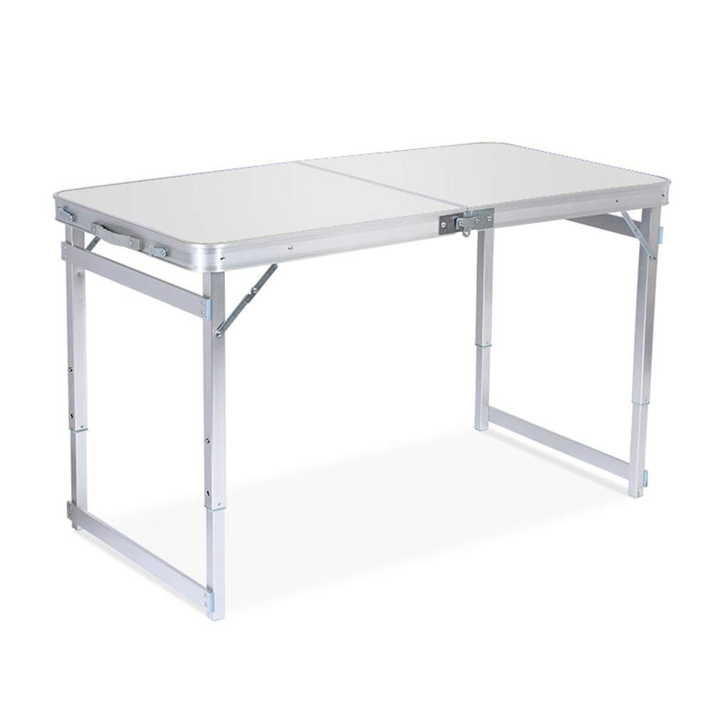 SHELFDQ Convenient Folding Table - Adjustable Height Aluminum Deformation Table for Indoor and Outdoor Use Modern (Color : Silver)