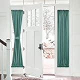 PONY DANCE Sidelight Door Curtain - Rod Pocket Blackout Panels Window Curtain Drapery Privacy Protect for Sliding Glass French Door with Bonus Tieback, 25 W x 72 L, Sea Teal, 1 PC