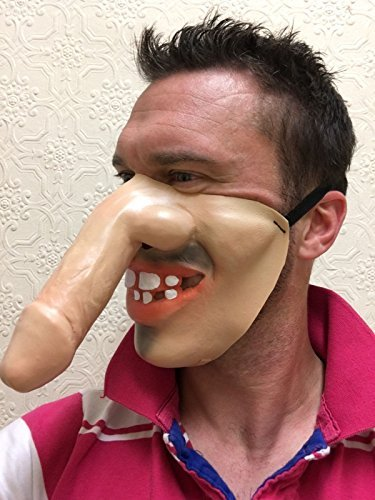 Funny Half Face DICK NOSE WILLY FACE Masks, Grey, Ginger, Old Man, Hung Stag Party Costume Fancy Dress Accessories by Rubber Johnnies