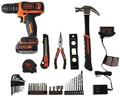 BLACK+DECKER 12V Drill & Home Tool Kit, ...