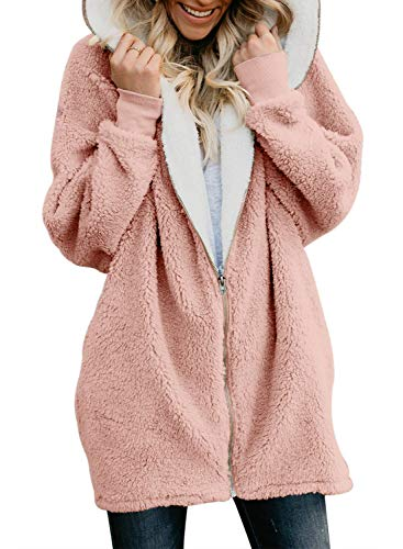 Volita Womens Oversized Faux Shearling Coat Zip Up Hoodie Fluffy Jacket with Pockets