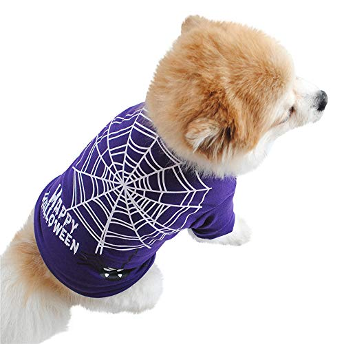 Twinsmall-Pet Clothes Halloween Dog Purple Clothing Cotton Spider Web Printing T Shirt Puppy Costume (L, Purple) ()
