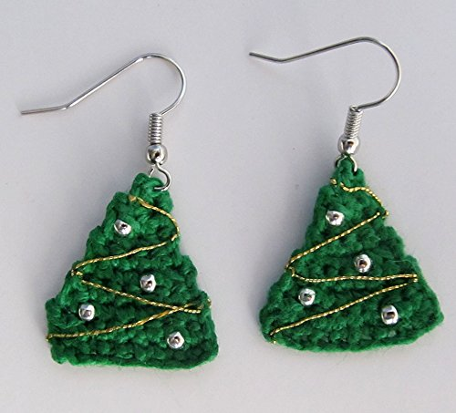 Amazoncom Crochet Mini Christmas Tree Earrings Decorated Holiday