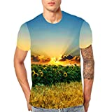 Xlala Hawaii Style for Men's Shirts Summer Fashion Blue Flowers Hippie Hip Hop Short Sleeved Personality Standing Collar Novelty Clothing (Yellow, S)