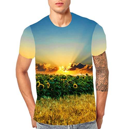 Eté 3d Homme Tops Manches 3 Shirt Basique sanfashion Courtes Vêtements Imprime Jaune Chemisier Tee IFUzgq