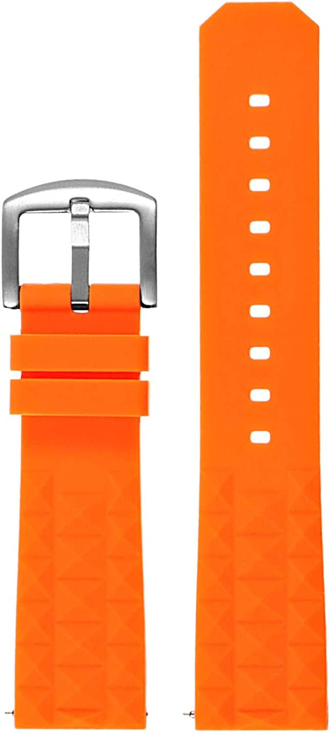 StrapsCo Super Waffle Silicone Rubber Quick Release Dive Watch Band Strap - Choose Your Color - 20mm 22mm