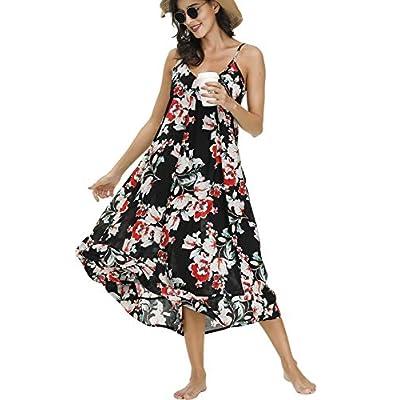 BUENOS NINOS Women's V Neck Floral Maxi Dress Boho Printed Adjustable Spaghetti Strap Ethnic Beach Long Dress with Pockets: Clothing
