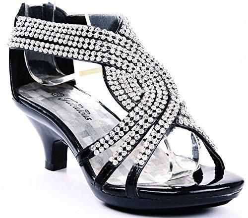 Angel-37K Little Girl Mid Heel Rhinestone Pretty Sandal Dress Shoes (11 M US Little Kid, - Angel Little Girl