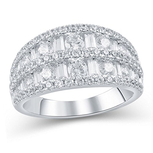 - 2 cttw Baguette and Round Diamond Five Row Ring Anniversary in 14K White Gold(IJ/12-13)