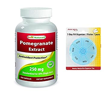 Mejor Naturals Granada extracto 250 mg 250 cápsulas con gratis 7 días plástico píldora organizadores