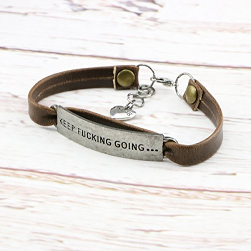 UNQJRY Leather Bracelets for Friends Inspirational Engraved Personalized Gift Jewelry Keep Fucking Going by UNQJRY (Image #2)