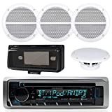 Kenwood KMR-D368BT In-Dash Marine Audio Blutooth Receiver Bundle , 2 Pairs of Enrock Marine 6.5'' Marine Hot Tub Outdoor Waterproof Speakers + Waterproof Receiver Shield Cover