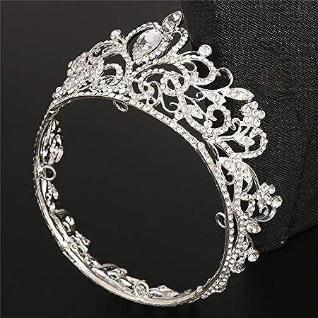 Wonque Brautkrone Hochzeit Abschlussball Tiara Runde Krone Brautschmuck Braut Strass Haarschmuck 1 St/ück Legierung 9.5 * 5.5CM Gold